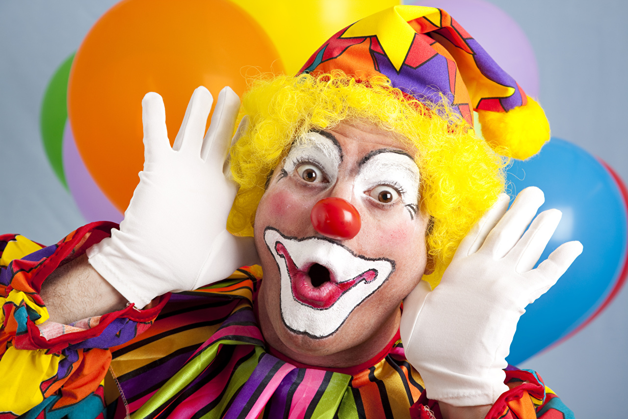 Фотографии Мужчины Макияж Перчатки Клоун Руки мейкап