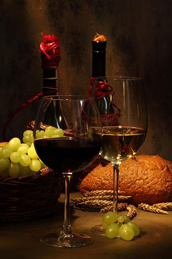 Картинка Вино вдвоем Виноград Бокалы Продукты питания  для мобильного телефона 2 два две Двое Еда Пища бокал