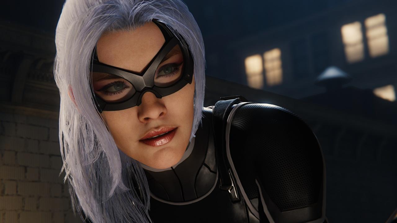 Картинки Spider-Man блондинки Женщина-кошка герой Exclusive PS4, Felicia Hardy 3д Лицо молодые женщины Игры Маски блондинок Блондинка лица Девушки девушка 3D Графика молодая женщина компьютерная игра