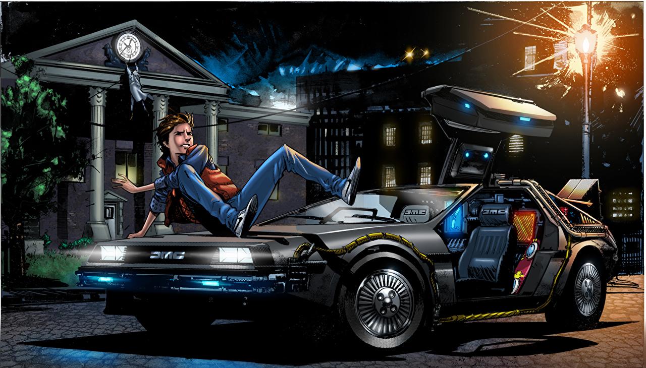 Обои для рабочего стола Назад в будущее Парни Фантастика Фильмы Ночные Автомобили Рисованные юноша парень подросток Фэнтези кино Ночь авто ночью в ночи машины машина автомобиль