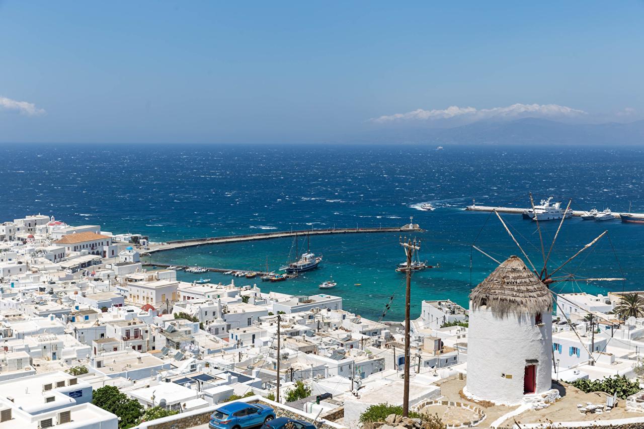 Картинки Греция Fournakia, Mykonos Море Пристань Здания Города Пирсы Причалы Дома город