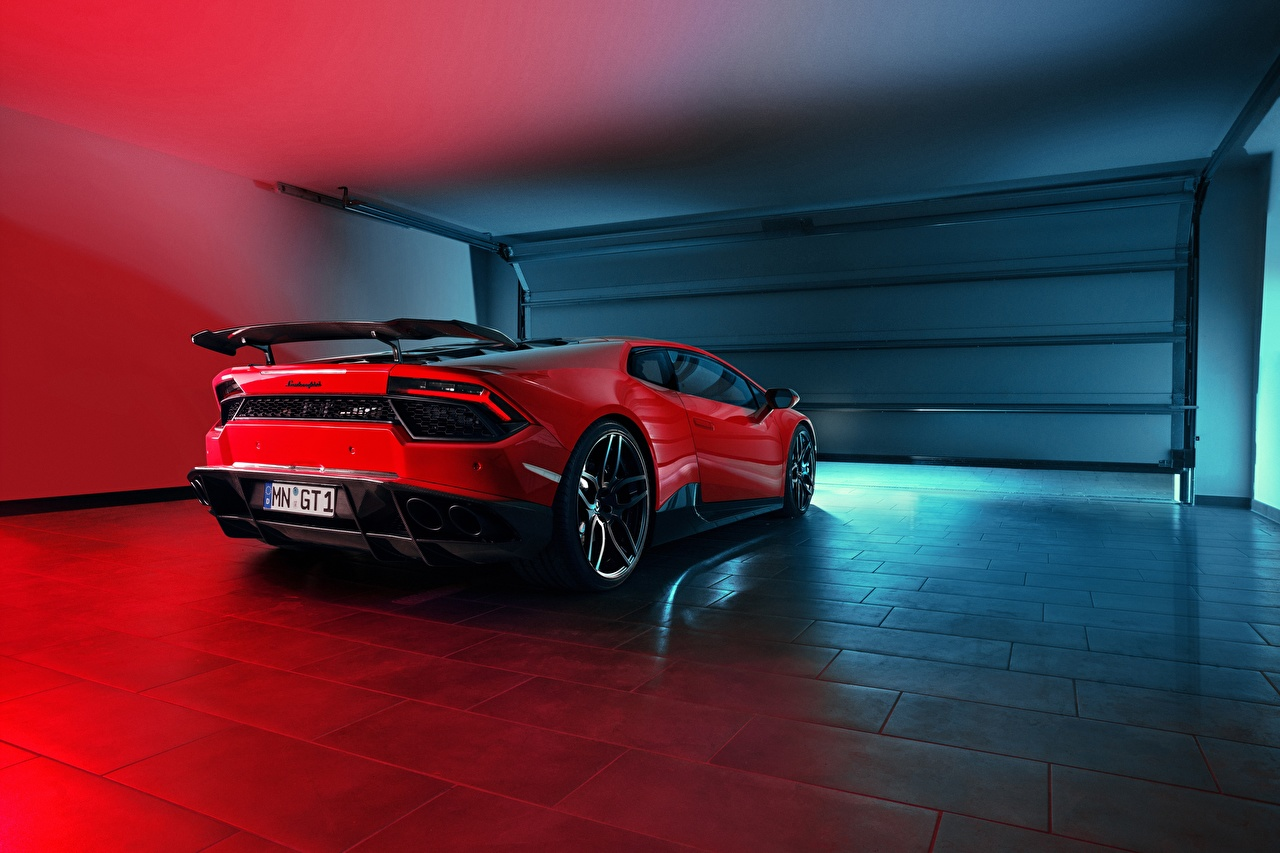 Фотография Lamborghini Novitec Torado, Huracan гараже красных Сзади Автомобили Ламборгини Гараж гаража гаражом Красный красные красная авто машина машины вид сзади автомобиль