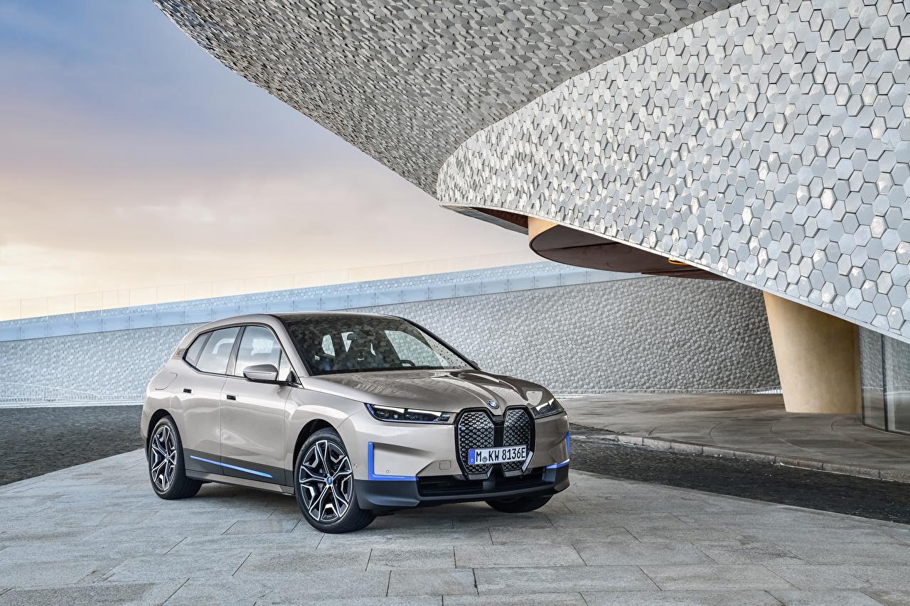 Картинка BMW Кроссовер iX, Worldwide, (i20), 2021 Серый машины Металлик БМВ CUV серая серые авто машина Автомобили автомобиль