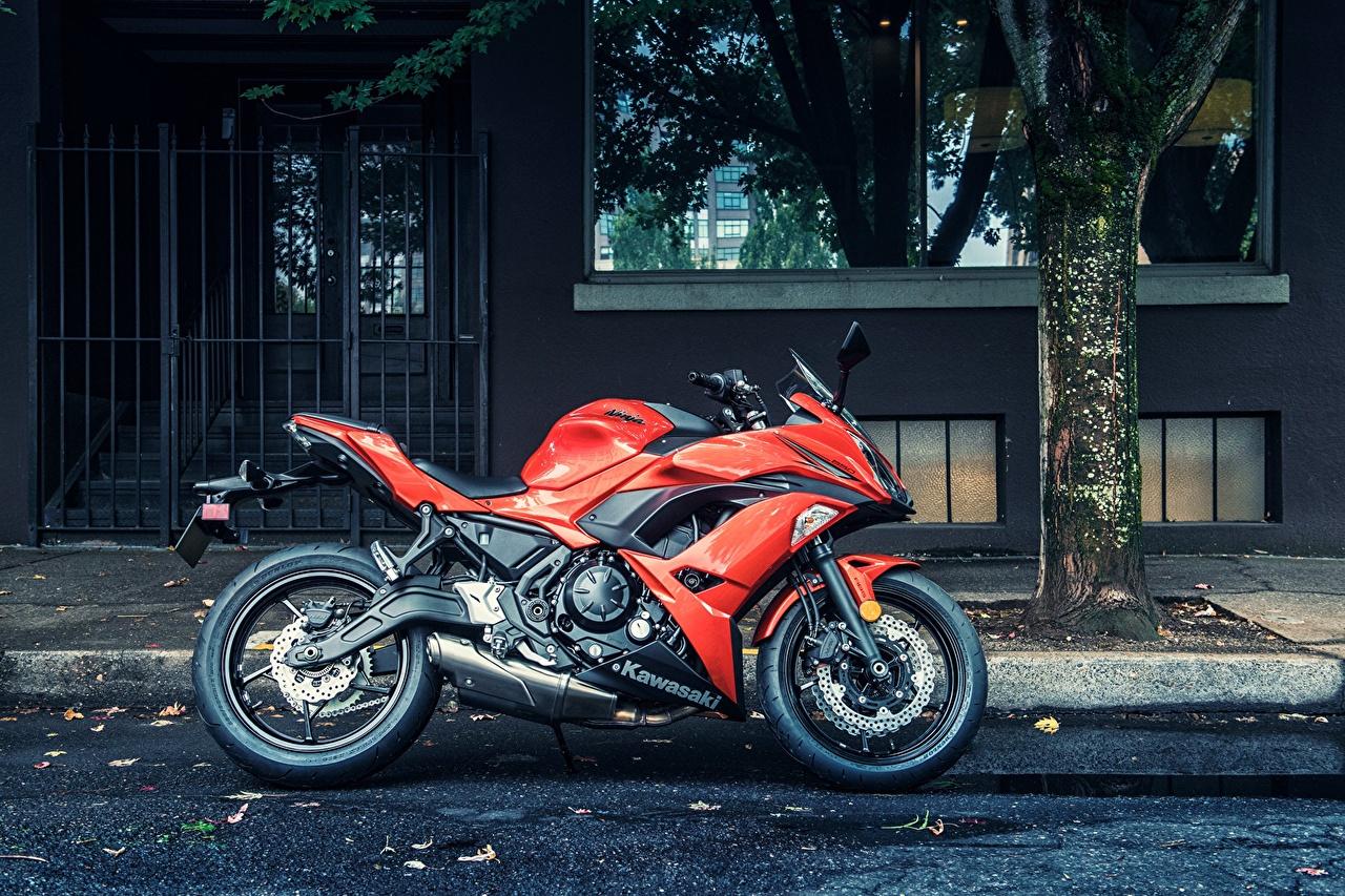 Фото Кавасаки 2016 Ninja 650 Красный Мотоциклы Улица Сбоку Kawasaki