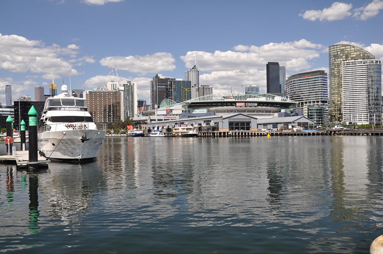 Фото Мельбурн Австралия Яхта Причалы Дома Города Пирсы Пристань Здания