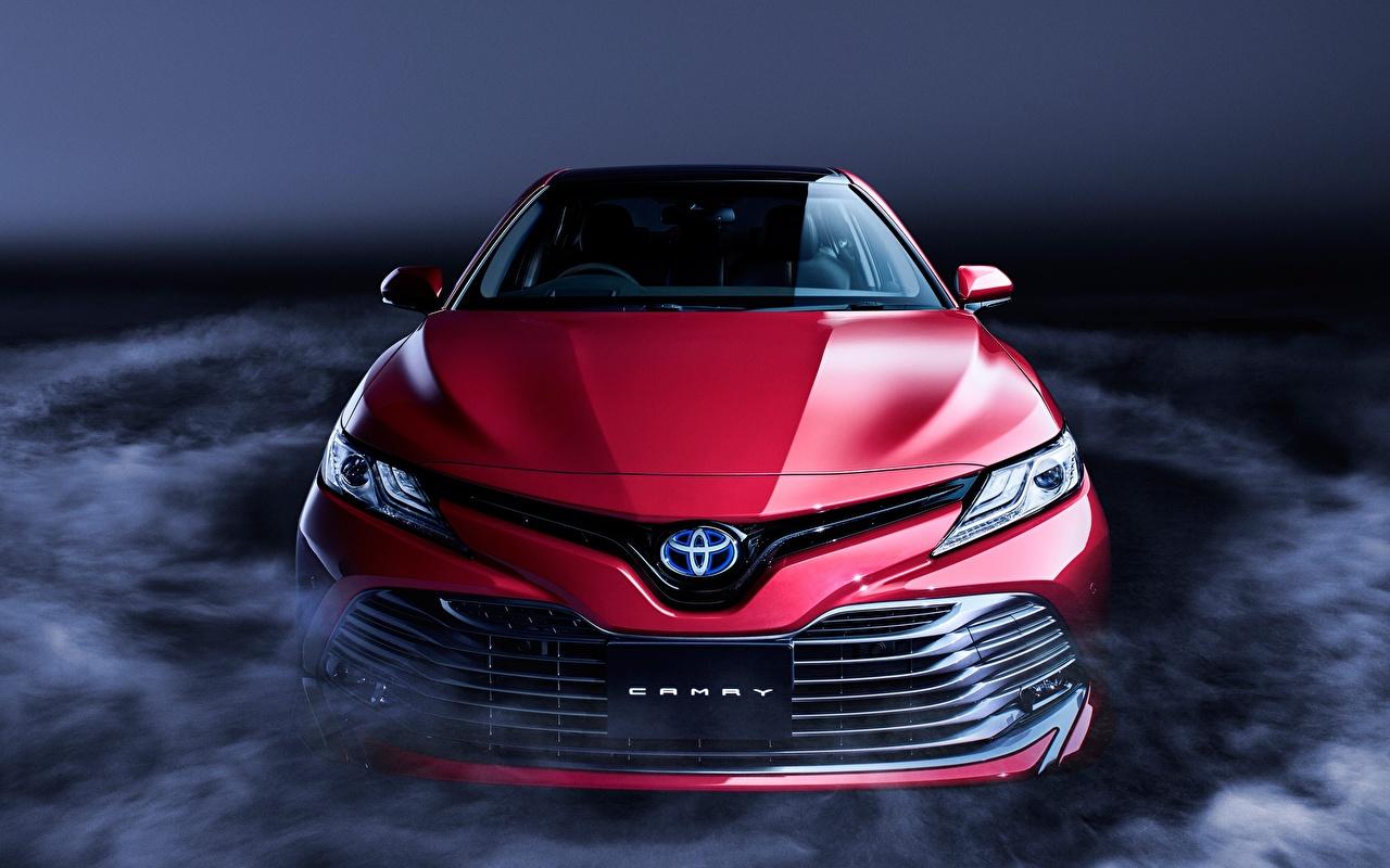 Обои для рабочего стола Toyota Camry Sight XV70 Красный Спереди Автомобили Тойота красная красные красных авто машины машина автомобиль