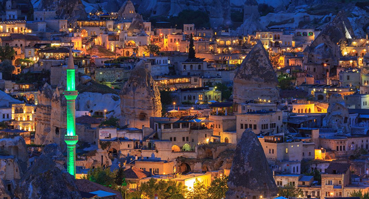 Картинки Турция Goreme Вечер Города Здания Дома город