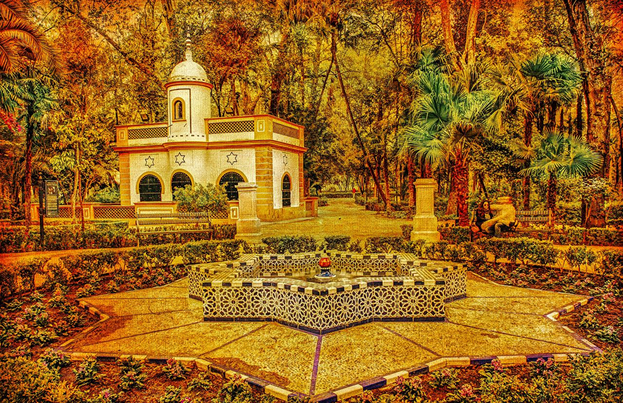 Фото Испания Фонтаны Seville Maria Luisa Park Осень Природа парк пальма Дома Деревья Дизайн осенние Парки пальм Пальмы дерева дерево Здания деревьев дизайна