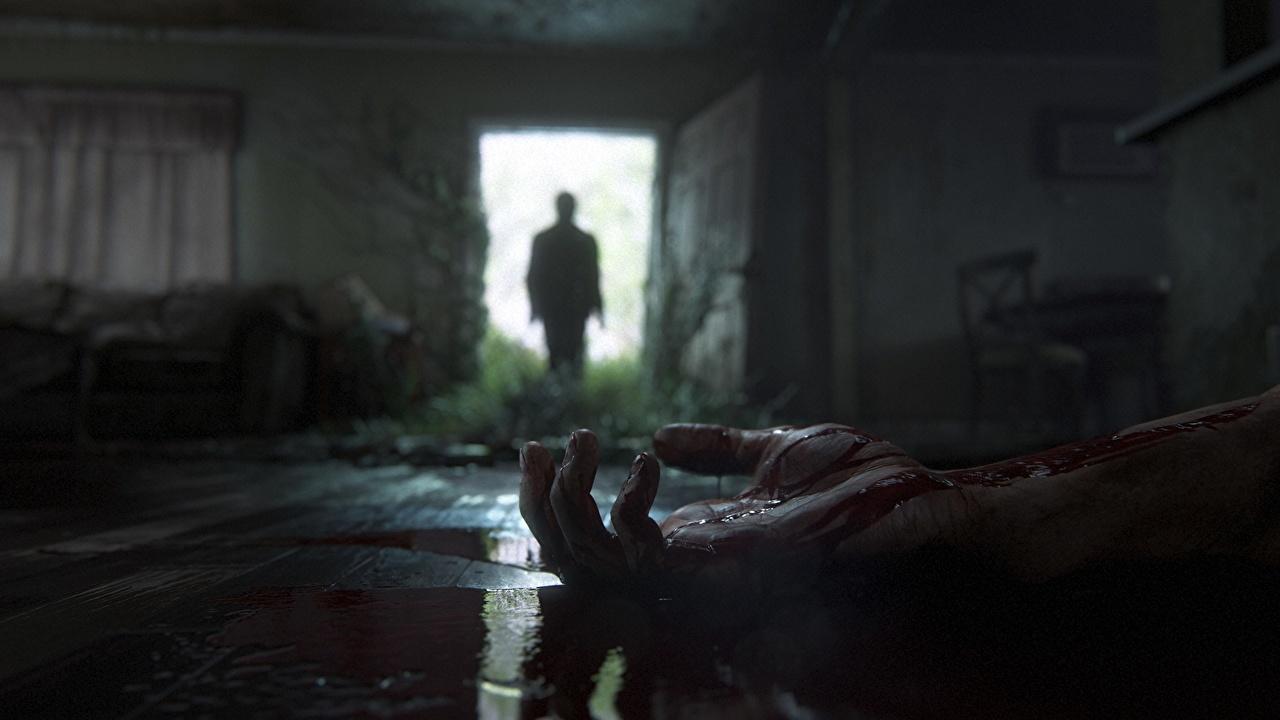 Фотографии Игры The Last of Us 2 крови силуэты Открытая дверь Руки двери компьютерная игра Кровь Силуэт силуэта рука Дверь