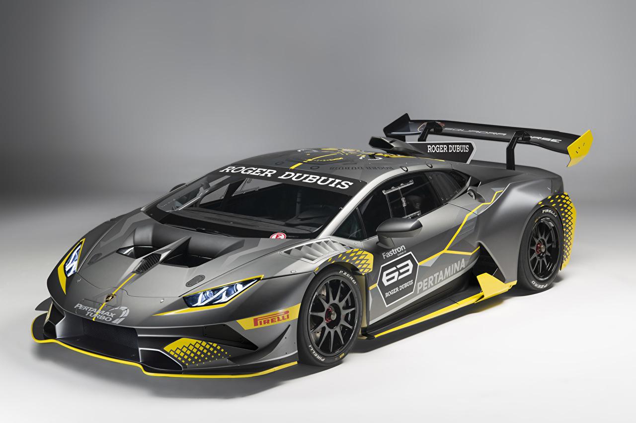 Обои для рабочего стола Lamborghini Тюнинг 2018 Huracán Super Trofeo EVO Серый машина Стайлинг Ламборгини серые серая авто машины автомобиль Автомобили
