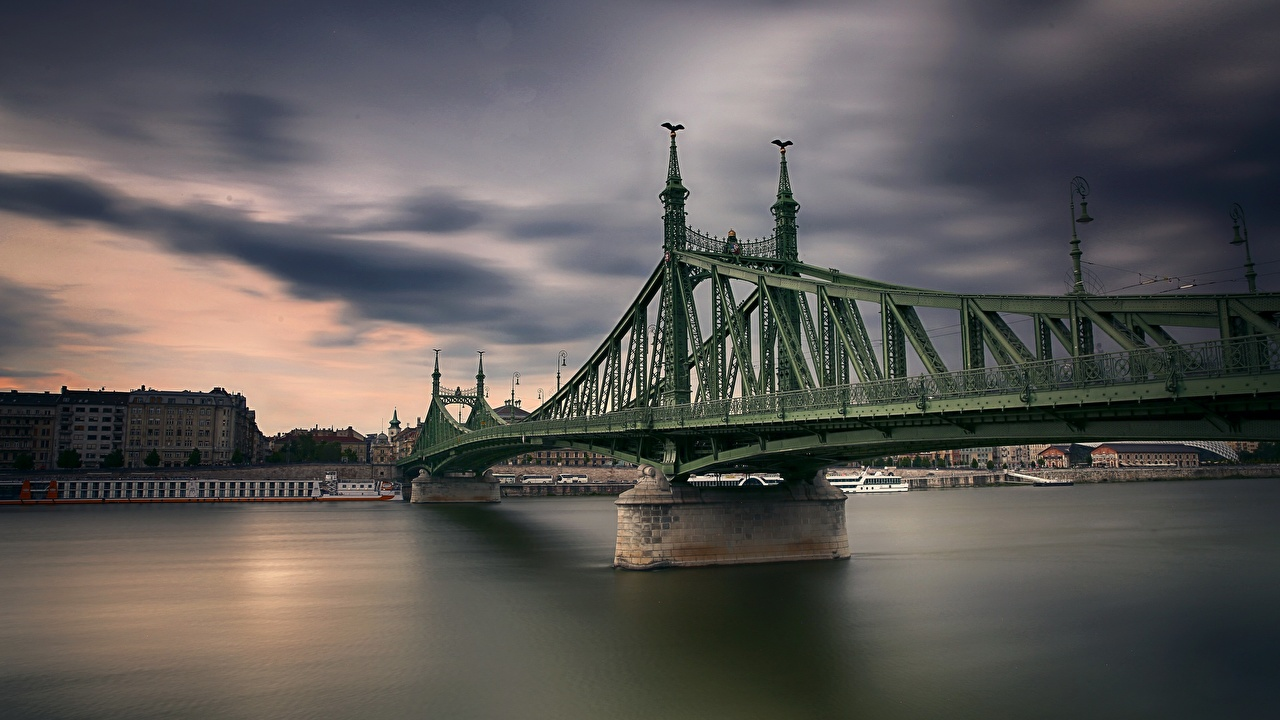 Фото Будапешт Венгрия Freedom Bridge Мосты река Города мост Реки речка город