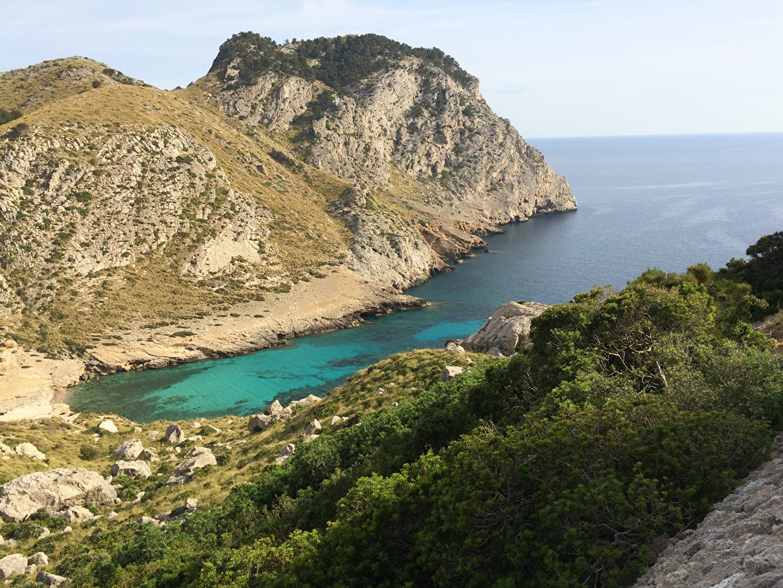 Обои для рабочего стола Испания Cap de Formentor, Island of Mallorca Скала Природа Бухта Залив Утес скалы скале бухты заливы залива