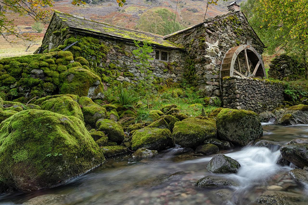 Обои для рабочего стола Англия Водяная мельница Borrowdale Природа Мох Камни мха мхом Камень