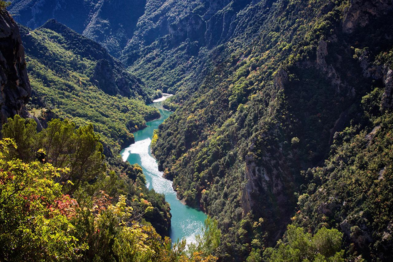 Фотография Франция Gorges Du Verdon Горы Природа Леса Реки речка