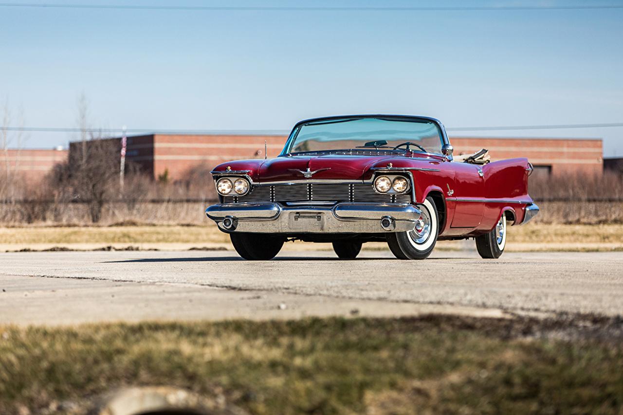 Обои 1958 Imperial Crown Convertible (LY1-M) Кабриолет Винтаж красная машина Металлик кабриолета Ретро красных красные Красный старинные авто машины автомобиль Автомобили