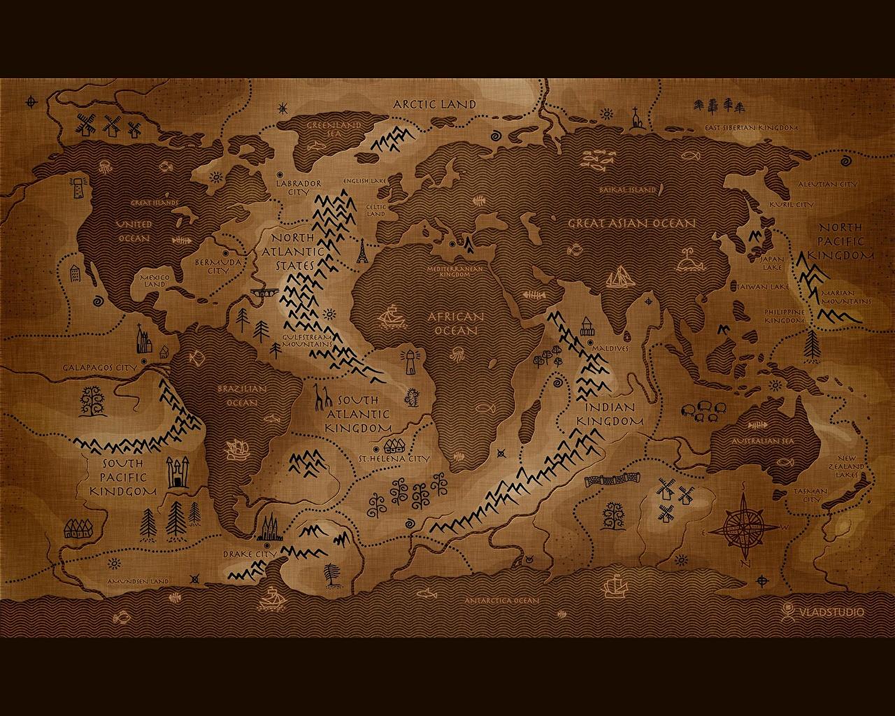 Обои для рабочего стола Географическая карта География