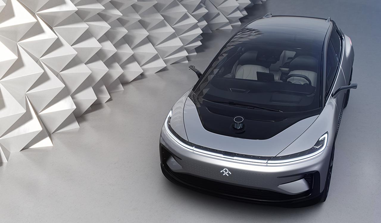 Фотография 2017 Faraday Future FF 91 Серебристый Автомобили Авто Машины