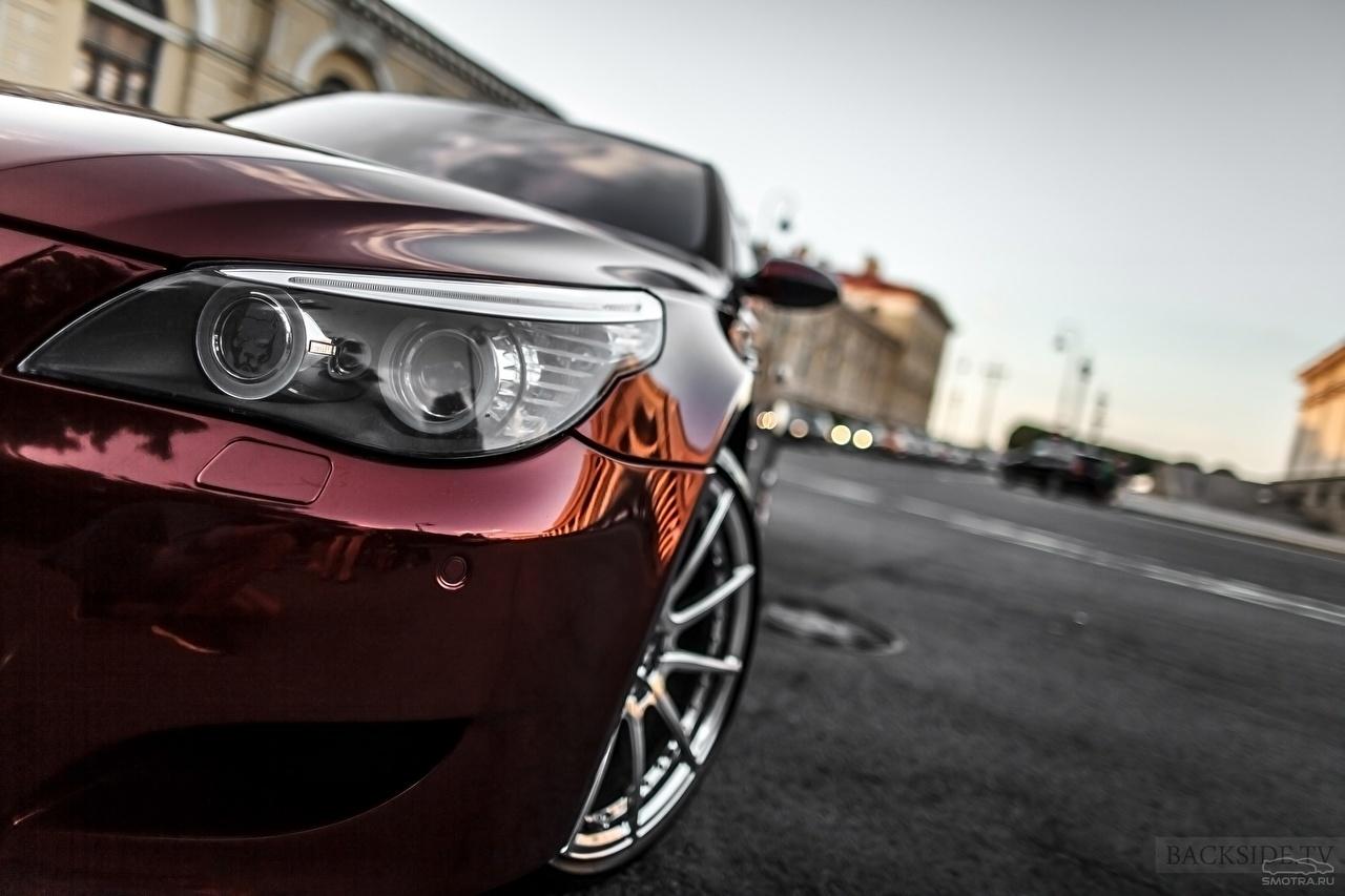 Фотография БМВ Smotra E60 Бордовый Фары Автомобили BMW бордовая бордовые темно красный фар авто машины машина автомобиль