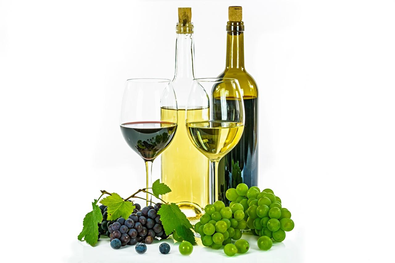 Фотография Вино Виноград Еда бокал бутылки белом фоне Пища Бокалы Бутылка Продукты питания Белый фон белым фоном
