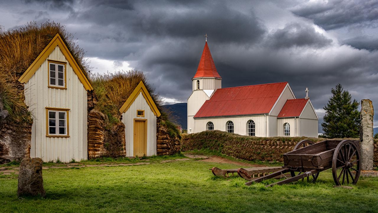 Картинки Церковь Исландия Glaumbaer, Skagafjörður туч Природа Здания Тучи Дома