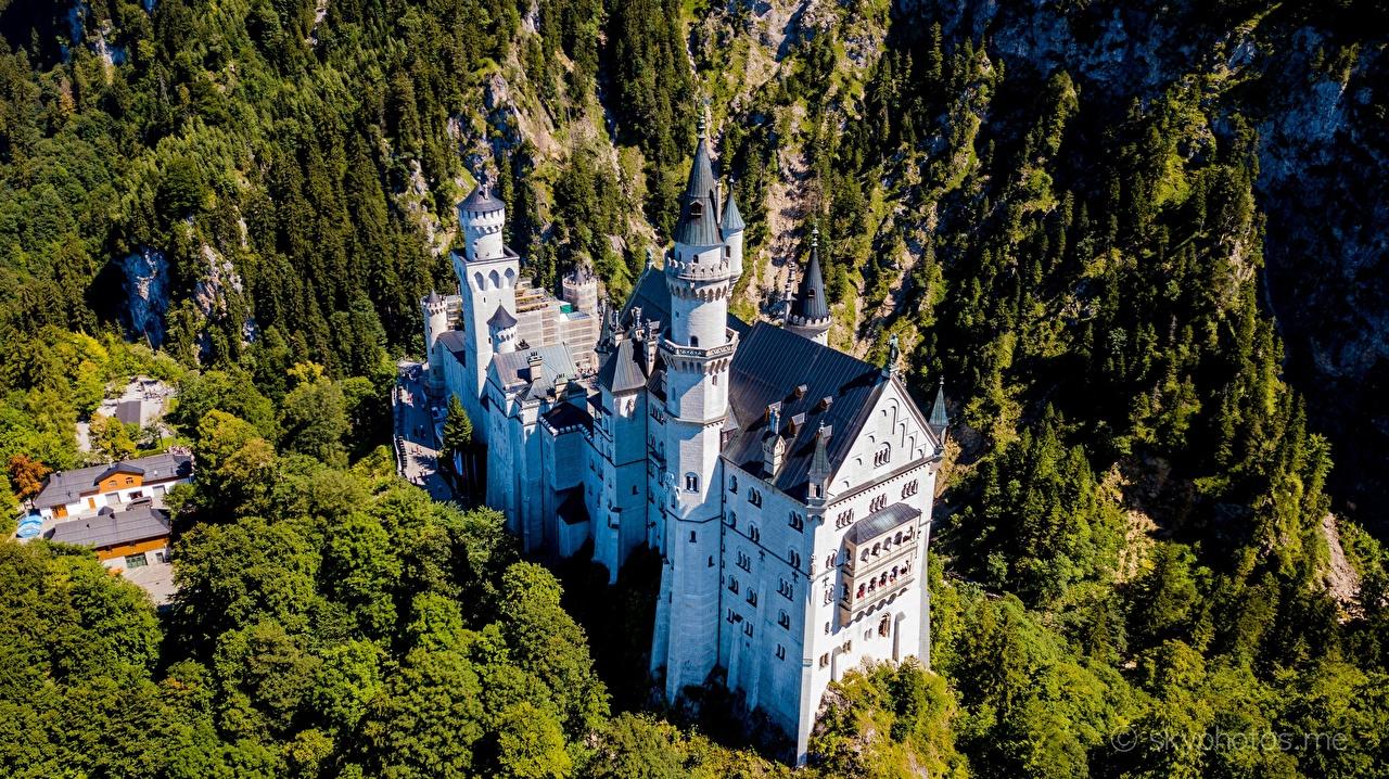 Фотографии Бавария Нойшванштайн Германия Замки Сверху Города замок город