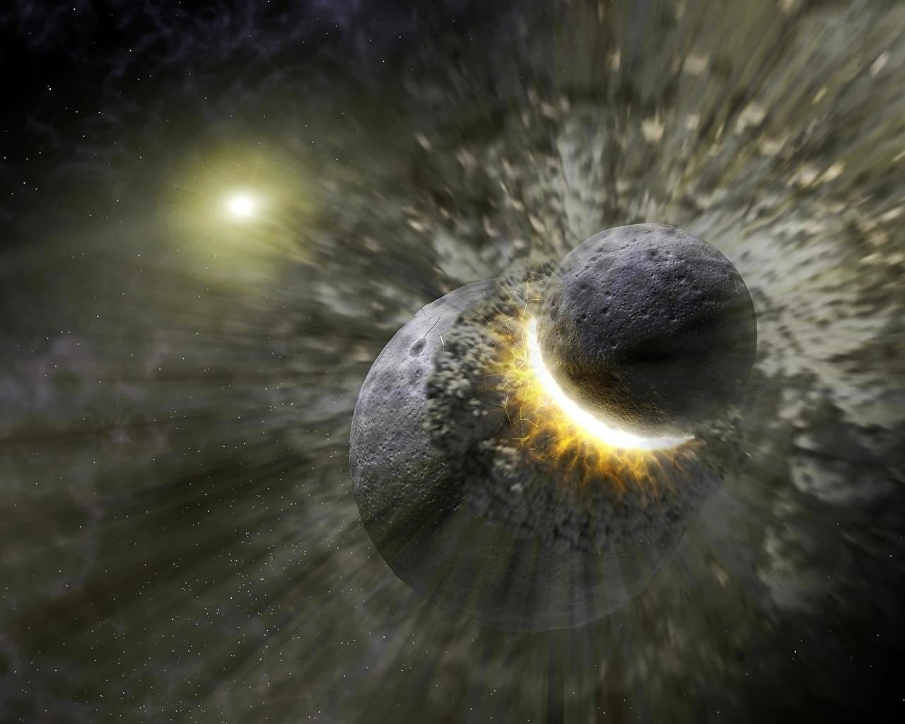 Фотографии Планеты Удар Космос Катастрофы планета Бьет Ударяет