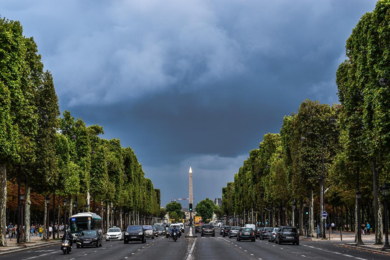 Фотографии Париж Франция Champs Elysees Дороги Города париже город