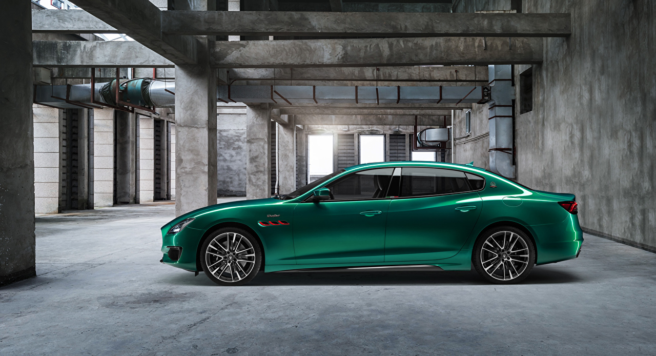 Картинки Мазерати Quattroporte Trofeo M156, 2020 зеленые Сбоку Металлик Автомобили Maserati зеленая Зеленый зеленых авто машины машина автомобиль