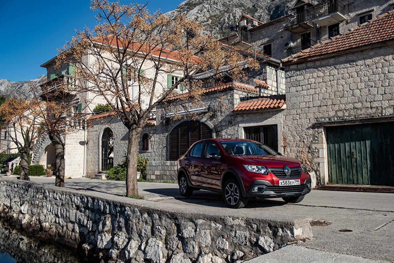 Картинки Рено 2018-19 Logan Stepway City Бордовый Авто Renault Машины Автомобили