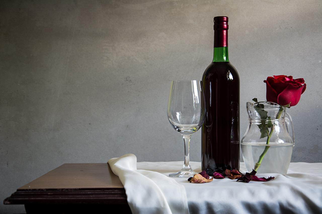 Картинки Вино Розы Еда бокал бутылки Натюрморт роза Пища Бокалы Бутылка Продукты питания