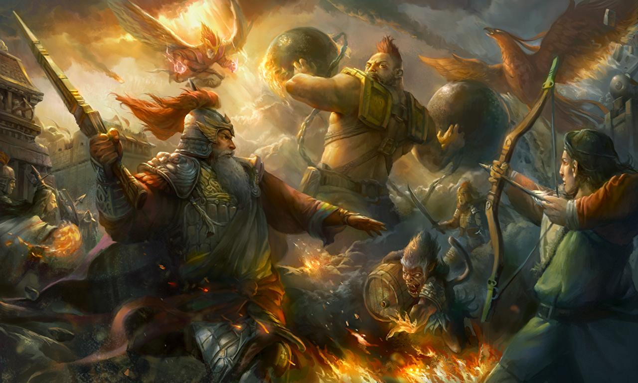 Фотография Лучники самурая Доспехи воины мужчина Фэнтези сражения Волшебные животные броня броне Самурай самураи доспехе доспехах воин Воители Мужчины Фантастика Битвы битва