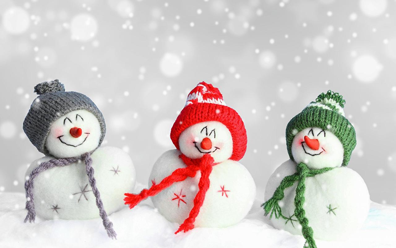 Фото Рождество Шапки Снег снеговик Трое 3 Праздники Новый год шапка в шапке снеге снегу снега снеговика Снеговики три втроем