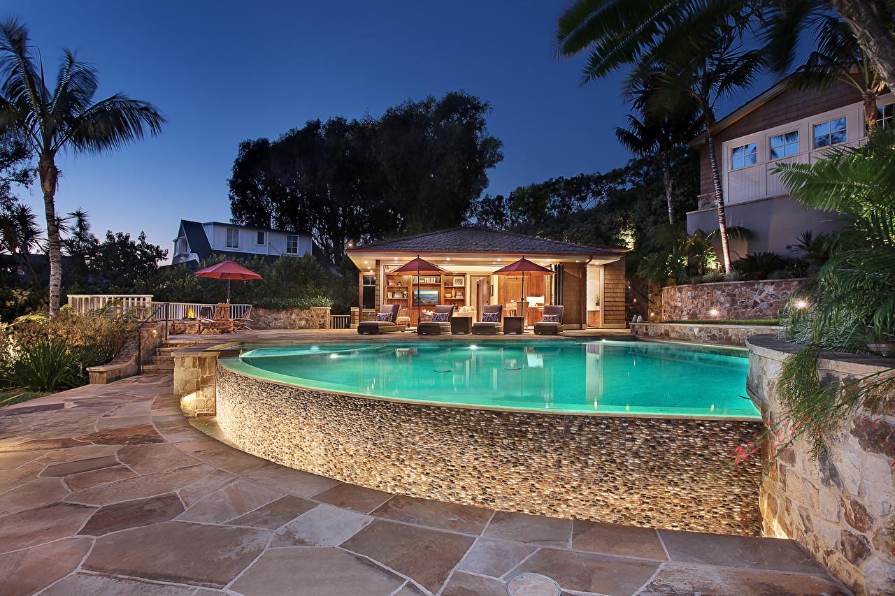 Обои Плавательный бассейн Особняк Вечер Города Здания Дизайн Бассейны Дома