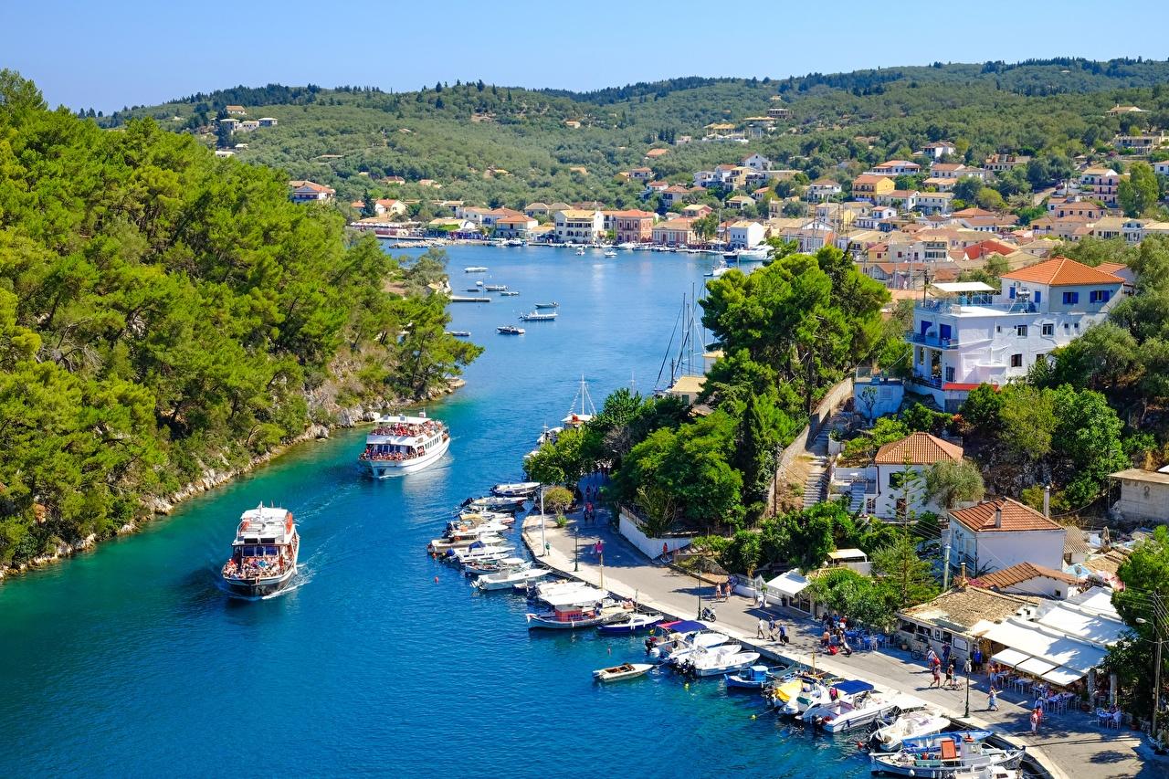 Картинка Греция island Corfu Остров Речные суда Пристань город Пирсы Причалы Города