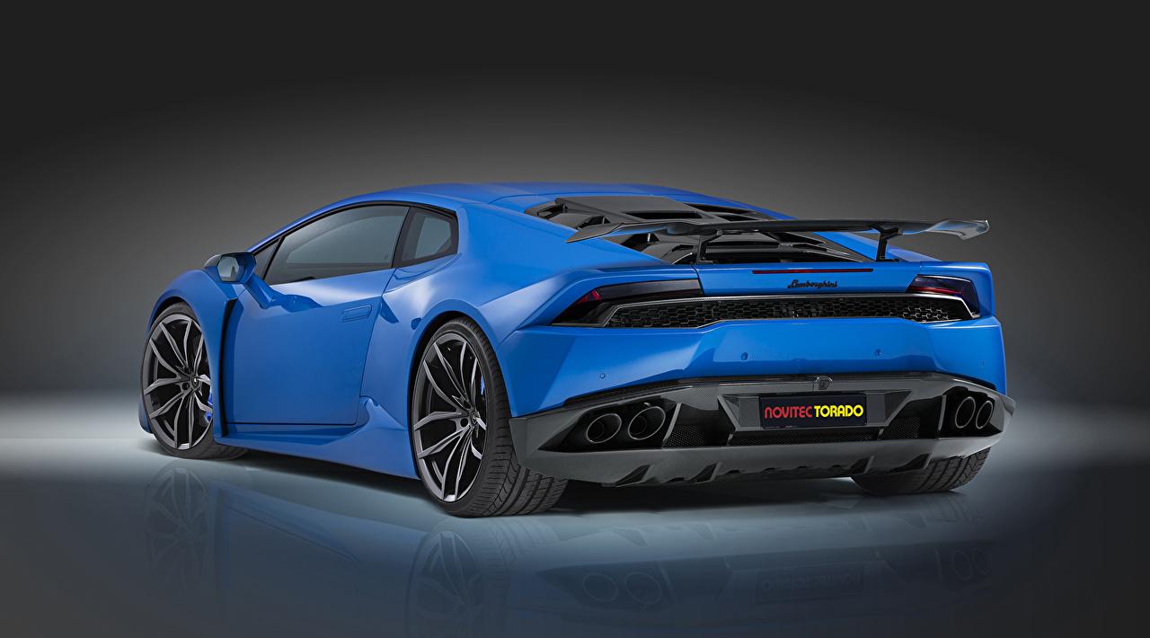 Фотографии Ламборгини Novitec Torado Huracan дорогая голубые Авто Сзади Lamborghini дорогие дорогой люксовые роскошная роскошный Роскошные голубых Голубой голубая Машины вид сзади Автомобили