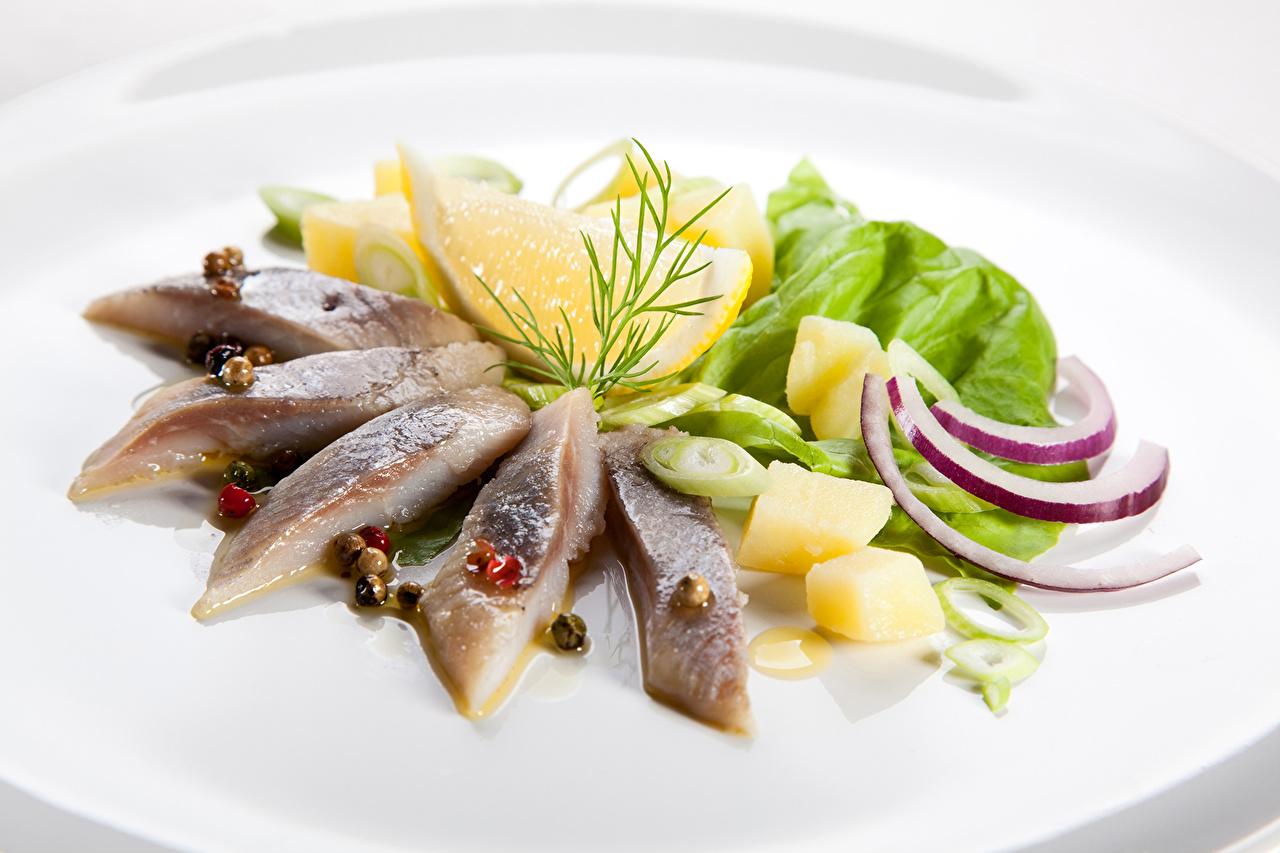 Фотографии Лук репчатый Рыба Лимоны Пища Морепродукты Еда Продукты питания