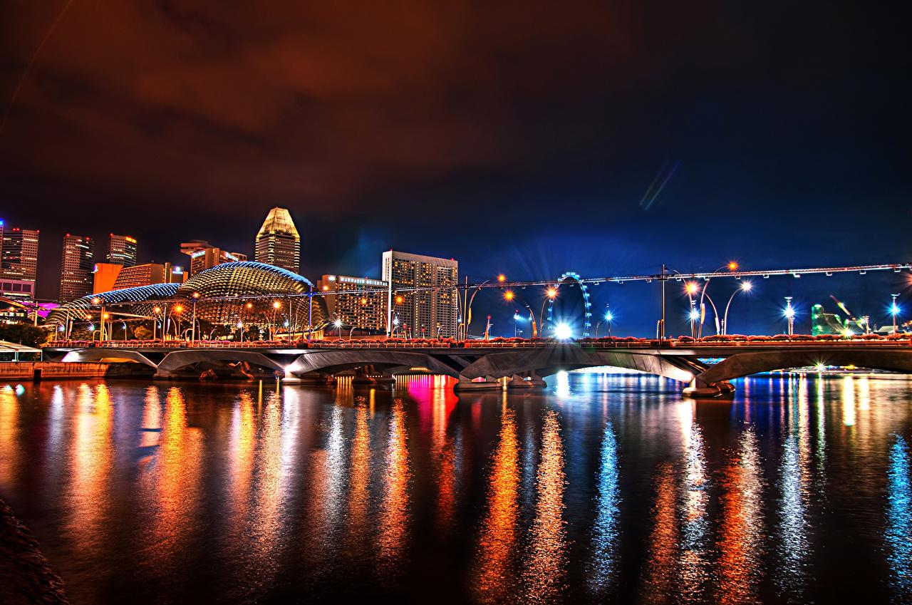 Картинка Сингапур Мосты Реки Ночь город Здания мост река речка ночью в ночи Ночные Дома Города