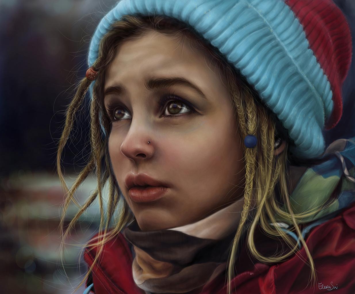 Фотографии Лицо шапка молодые женщины смотрит Рисованные лица Шапки в шапке девушка Девушки молодая женщина Взгляд смотрят