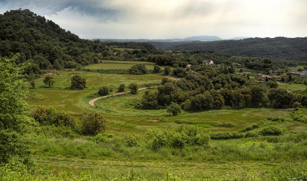 Фотография Испания Granera Catalonia Природа Леса Луга Трава Здания лес траве Дома