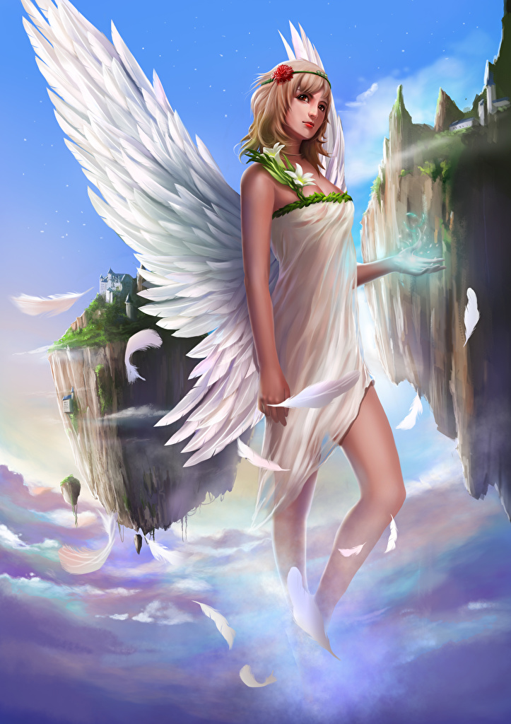 Обои Крылья Девушки Фэнтези Ангелы Фантастика