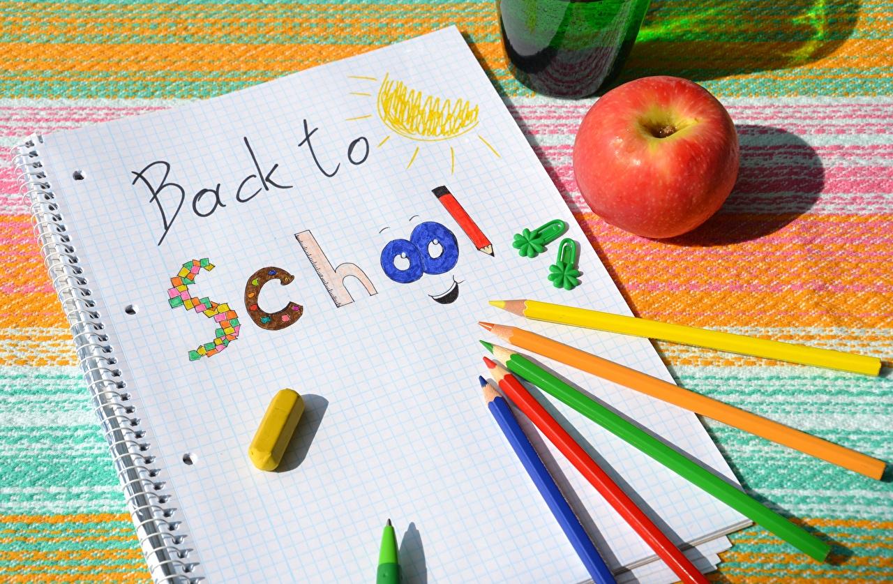 Фотография школьные инглийские карандашей бумаге Разноцветные Яблоки Школа карандаш Карандаши карандаша Английский английская бумаги Бумага