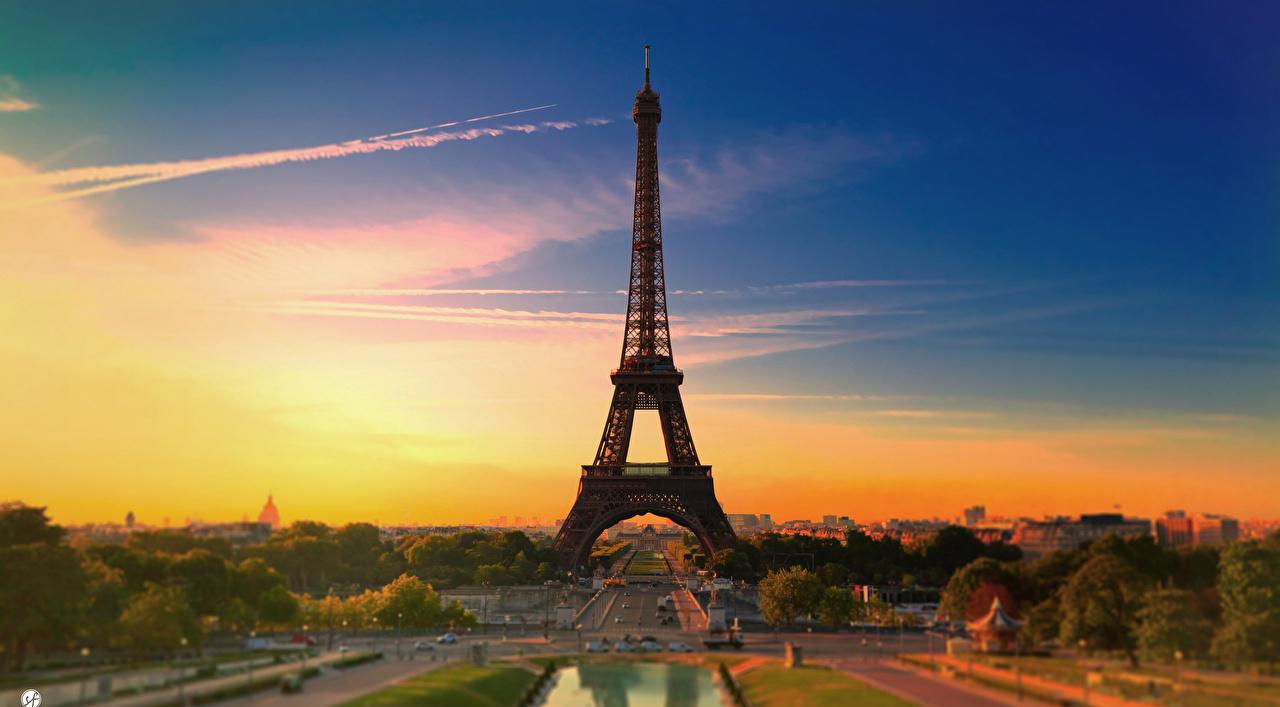 Фото париже Эйфелева башня Франция Рассветы и закаты Города Париж рассвет и закат город