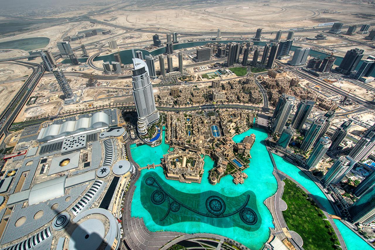 Фотография Дубай Объединённые Арабские Эмираты Burj Khalifa Сверху Небоскребы Дома Города ОАЭ город Здания