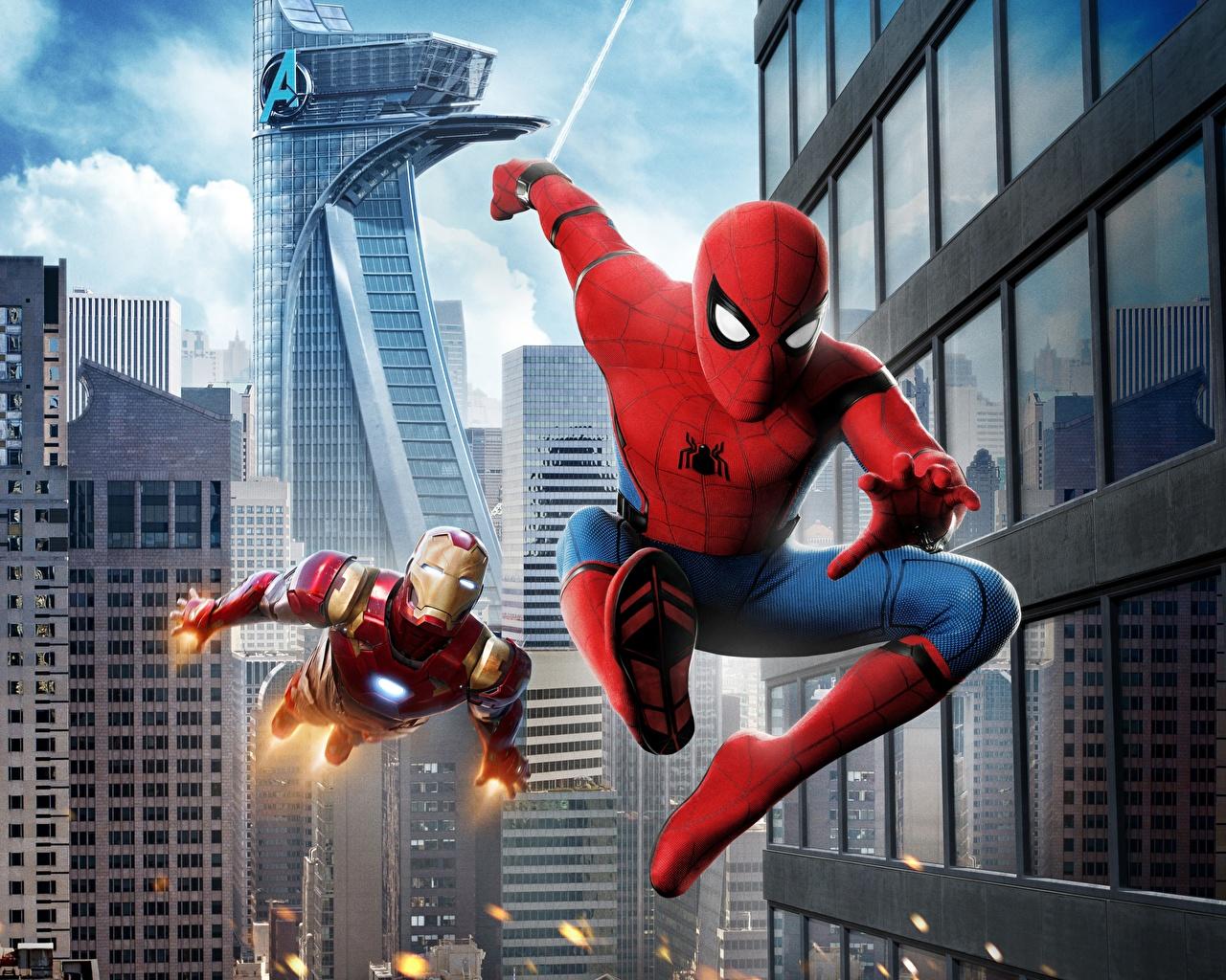 Картинки Человек-паук: Возвращение домой Человек паук герой Железный человек герой Кино Фильмы