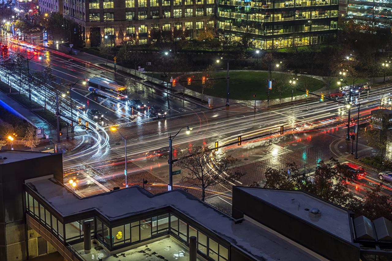 Картинки США Columbus Ohio Дороги Вечер Уличные фонари Города Здания штаты америка Дома город