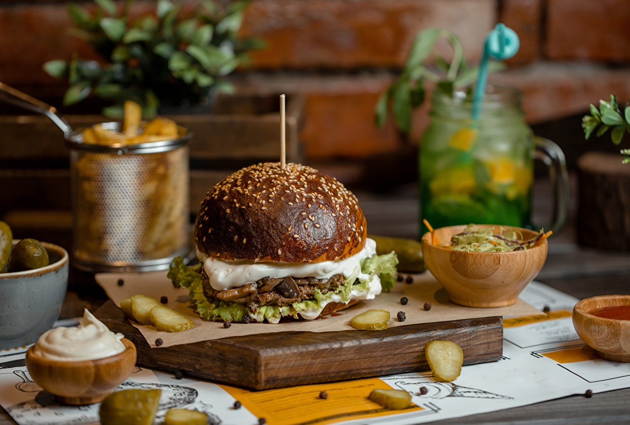 Обои для рабочего стола Гамбургер Фастфуд Продукты питания Быстрое питание Еда Пища