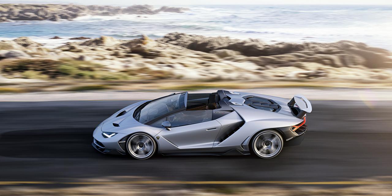 Картинки Lamborghini Centenario Родстер Движение Сбоку машина Ламборгини едет едущий едущая скорость авто машины автомобиль Автомобили
