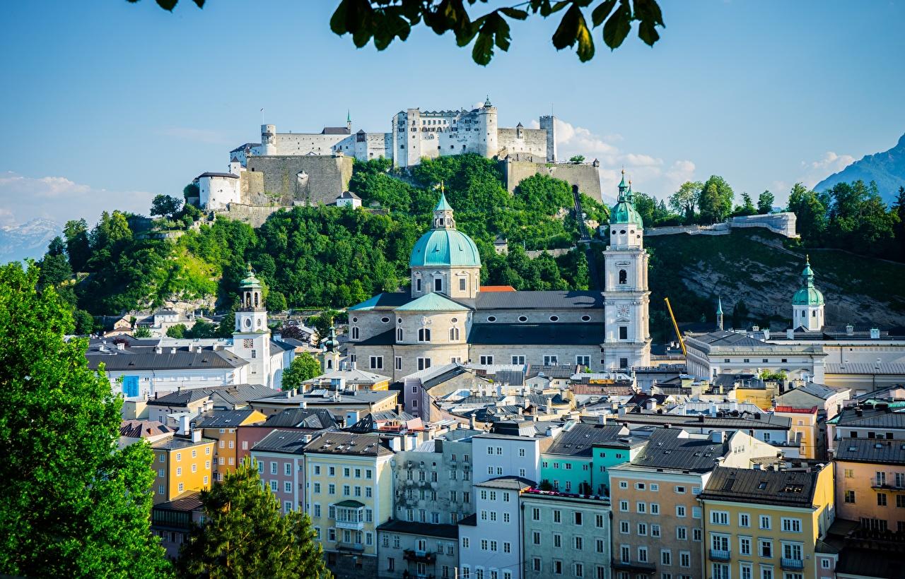 Картинки Зальцбург Австрия замок Дома город Замки Здания Города