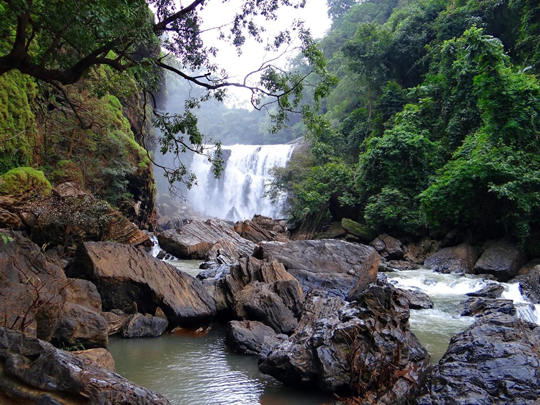 Картинка Индия Sathodi Waterfall, Kali Gandaki River Природа Водопады речка Камень река Реки Камни