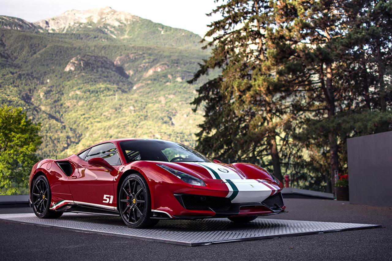 Фотография Феррари Стайлинг 2018 488 Pista Tailor Made Piloti Ferrari красных Авто Металлик Тюнинг Красный красные красная Машины Автомобили